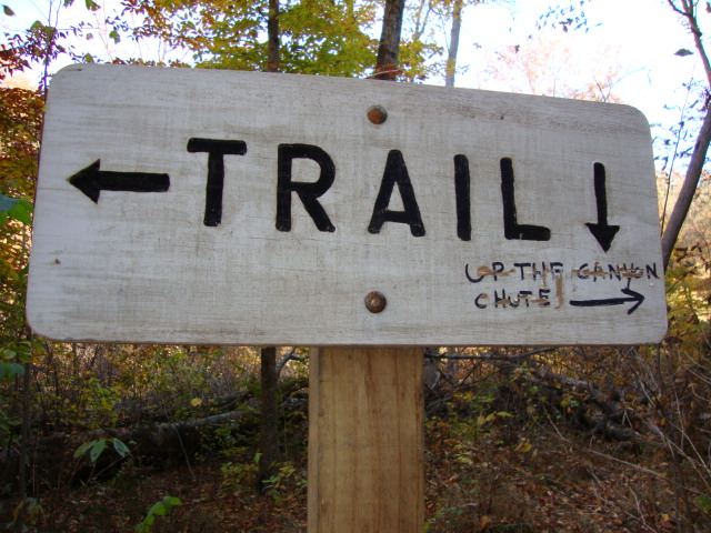 Wooden sign says trail.